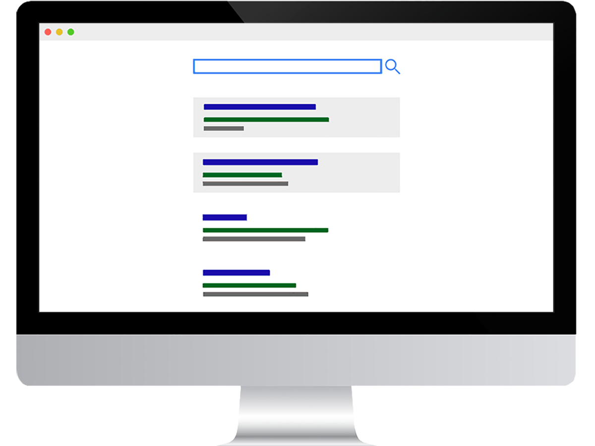 Mockup of Google search results, showing how to advertise your business with Google Ads